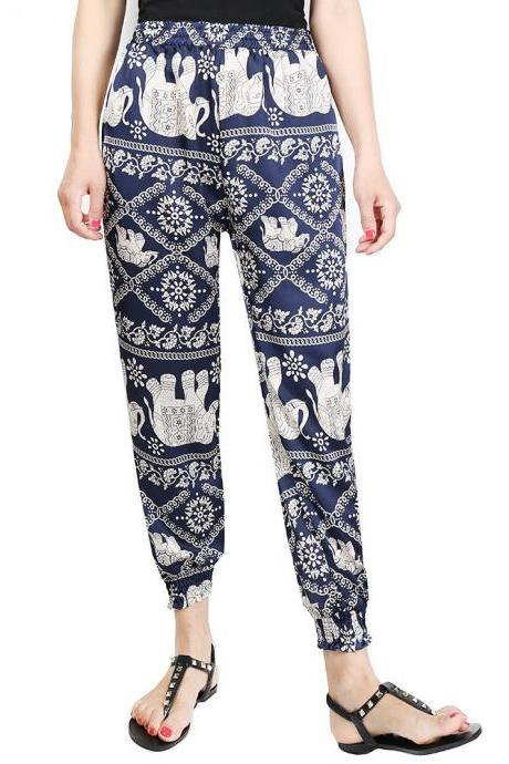 Women Harem Pants Summer Beach Elastic Waist Drawstring Loose Floral Printed Trousers12#