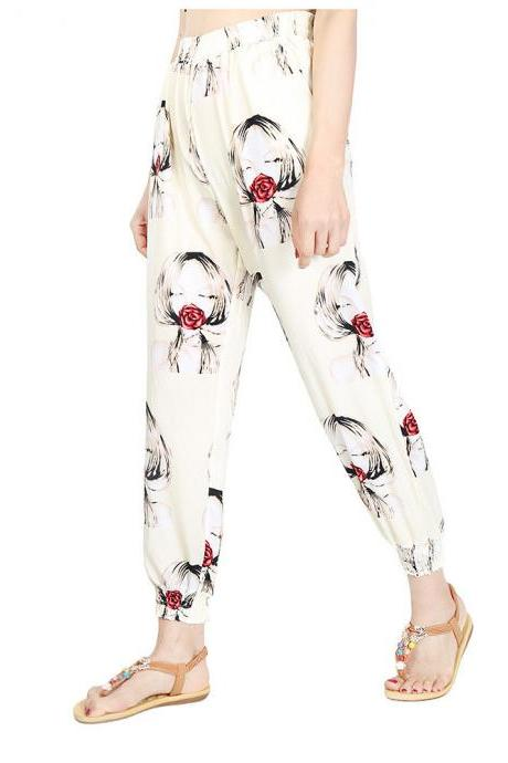 Women Harem Pants Summer Beach Elastic Waist Drawstring Loose Floral Printed Trousers16#