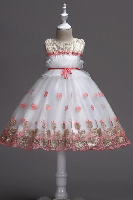 Sequin Flower Girl Dress Wedding Birthday Prom Party Tutu Gown Children Clothes salmon