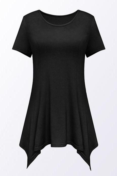 Women Asymmetric T-Shirt O Neck Short Sleeve Solid Loose Casual Tee Tops black
