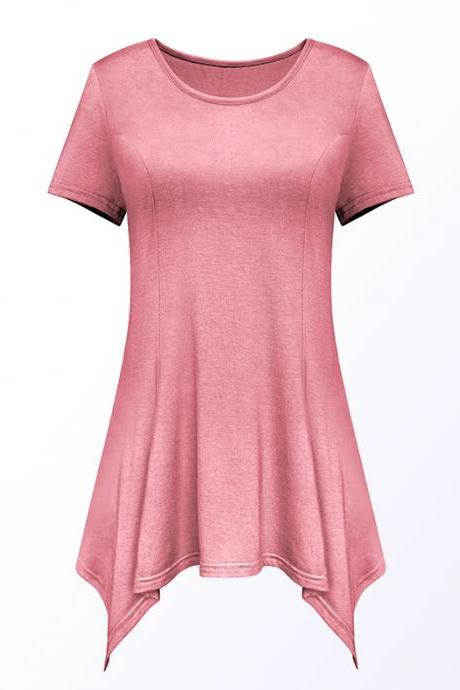 Women Asymmetric T-Shirt O Neck Short Sleeve Solid Loose Casual Tee Tops pink