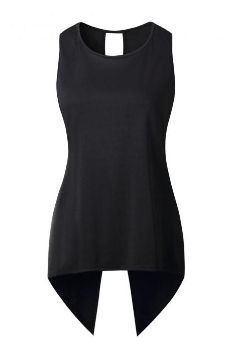 Women Sleeveless T Shirt Asymmetrical Hem Summer Casual Vest Slim Long Tee Tops black