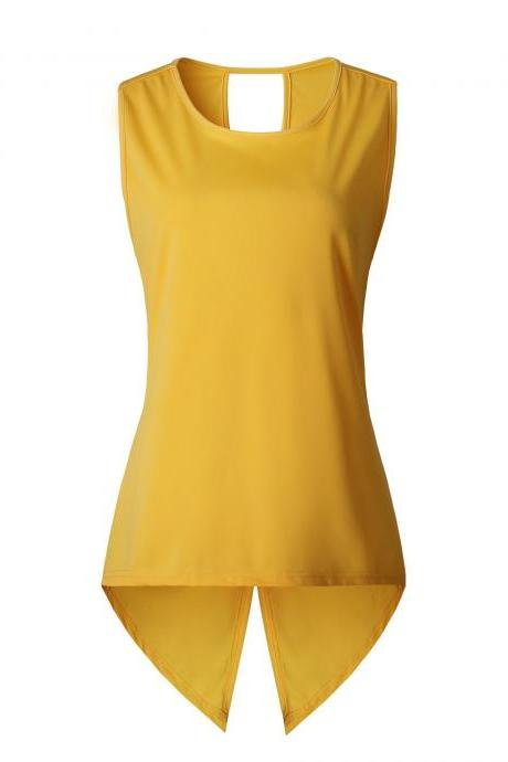 Women Sleeveless T Shirt Asymmetrical Hem Summer Casual Vest Slim Long Tee Tops yellow