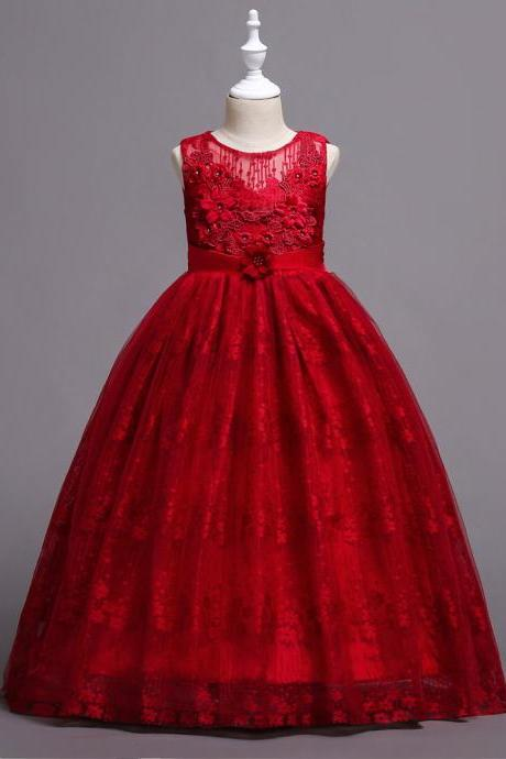Long Lace Flower Girl Dress Teens Wedding Princess Party Birthday Gown Children Clothes red