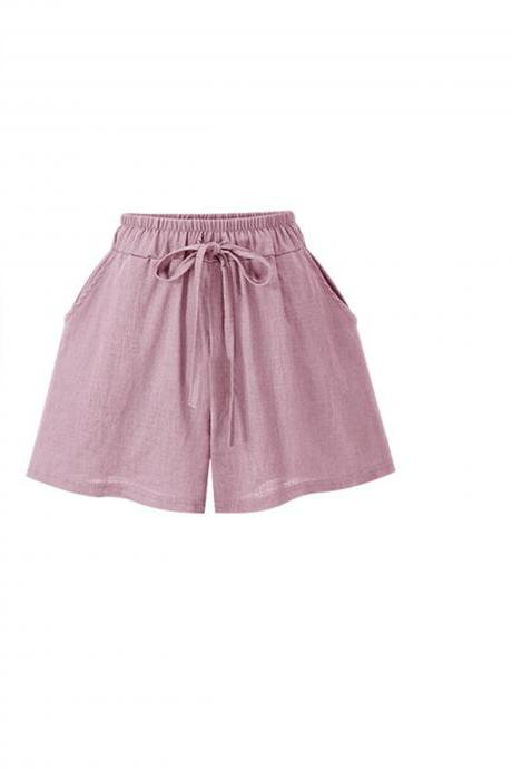 Pink Elasticised Drawstring High Waisted Shorts