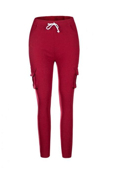 Women Pencil Pants Drawstring High Waist Pockest Skinny Slim Casual Long Trousers crimson