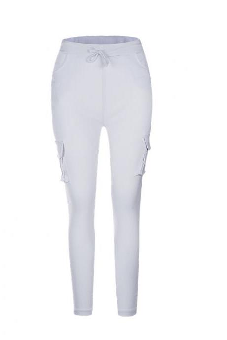 Women Pencil Pants Drawstring High Waist Pockest Skinny Slim Casual Long Trousers off white