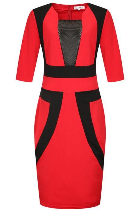 Plus Size Women Pencil Dress Square Neck Half Sleeve Patchwork Bodycon Work Party Dress red