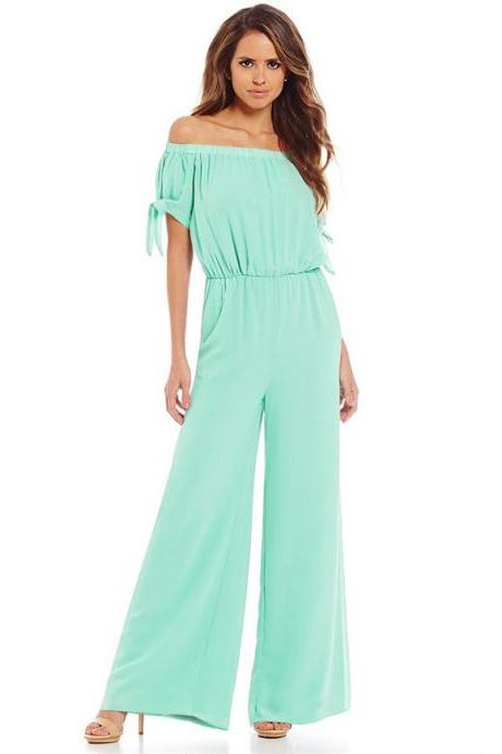 Women Long Jumpsuit Off Shoulder Short Sleeve Wide Leg Pants Chiffon Floral Printed Rompers aqua