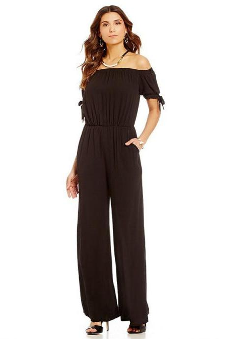 Women Long Jumpsuit Off Shoulder Short Sleeve Wide Leg Pants Chiffon Floral Printed Rompers black