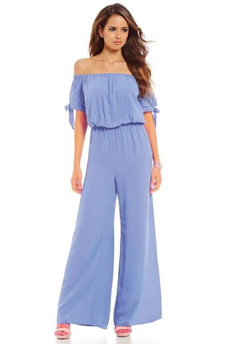 Women Long Jumpsuit Off Shoulder Short Sleeve Wide Leg Pants Chiffon Floral Printed Rompers light blue