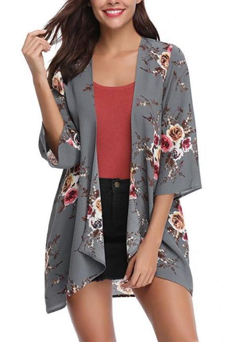 Women Casual Kimono Cardigan Half Sleeve Summer Chiffon Loose Floral Printed Coat Jacket gray