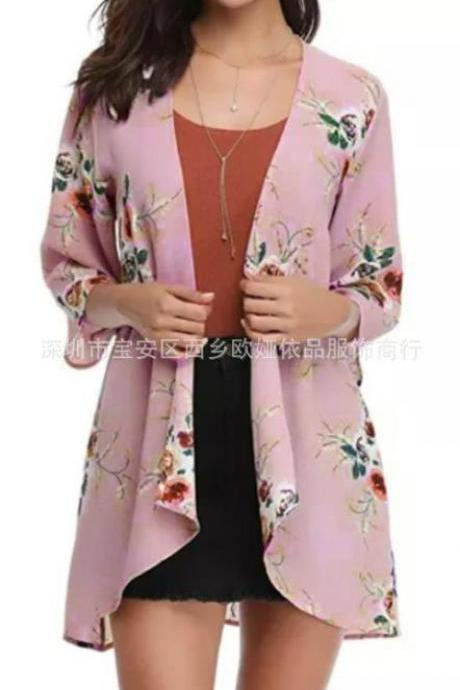 Women Casual Kimono Cardigan Half Sleeve Summer Chiffon Loose Floral Printed Coat Jacket pink