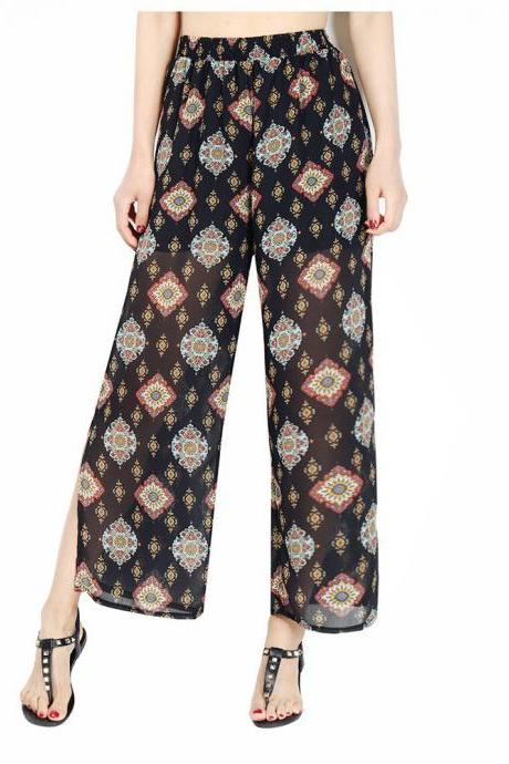 Women Chiffon Loose Casual Pants High Waist Summer Side Split Floral Printed Wide Leg Trousers6#