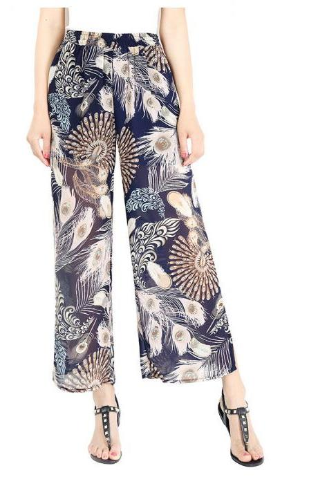 Women Chiffon Loose Casual Pants High Waist Summer Side Split Floral Printed Wide Leg Trousers7#