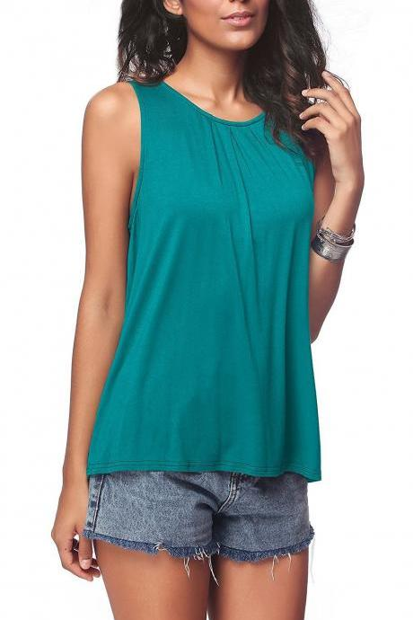 Peacock Blue O Neck Casual Loose Sleeveless Tank Top