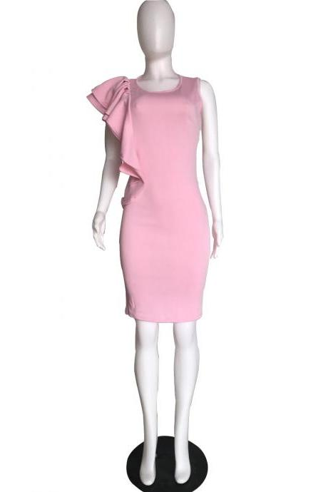Women Pencil Dress Ruffles Summer Sleeveless Slim Bodycon Work Club Party Dress pink