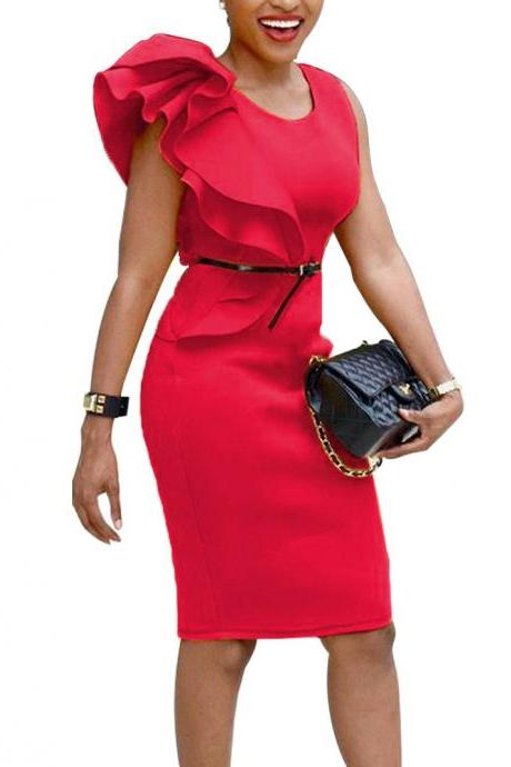 Women Pencil Dress Ruffles Summer Sleeveless Slim Bodycon Work Club Party Dress red