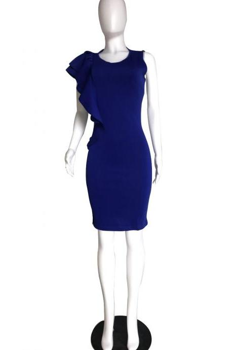 Women Pencil Dress Ruffles Summer Sleeveless Slim Bodycon Work Club Party Dress royal blue
