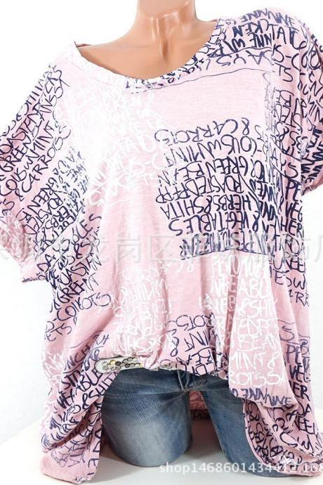Women Casual T-Shirt Short Sleeve Summer Letter Printed Loose Tee Tops pink