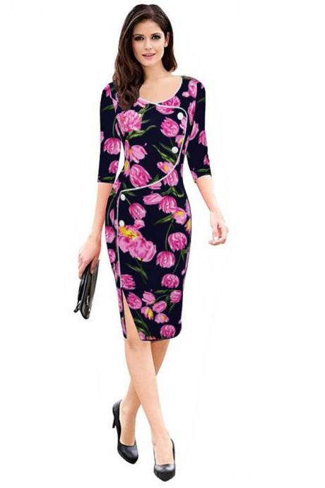 Womens Floral Printed Pencil Dress 3/4 Sleeve Button Split Business Office Bodycon Work Party Dress red floral