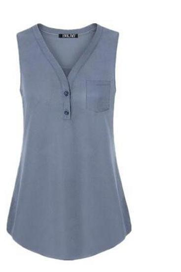 Women Tank Top V Neck Summer Vest Top Button Casual Blouse Sleeveless T Shirt gray