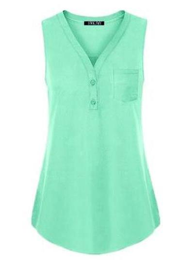 Women Tank Top V Neck Summer Vest Top Button Casual Blouse Sleeveless T Shirt pale green