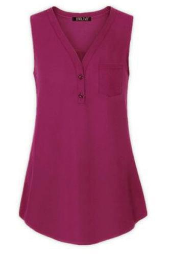 Women Tank Top V Neck Summer Vest Top Button Casual Blouse Sleeveless T Shirt plum