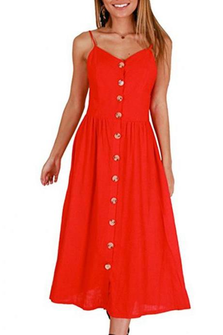 Red Spaghetti Strap Button Down Summer Midi Dress