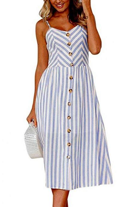 Women Midi Casual Dress Spaghetti Strap Button Pocket Boho Summer Beach Striped Sundress 8#