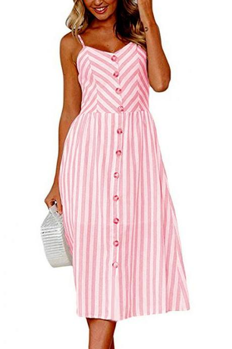 Women Midi Casual Dress Spaghetti Strap Button Pocket Boho Summer Beach Striped Sundress 9#