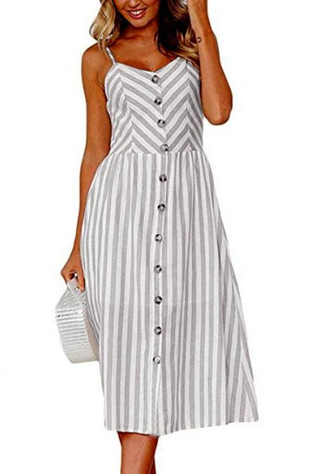 Women Midi Casual Dress Spaghetti Strap Button Pocket Boho Summer Beach Striped Sundress 11#