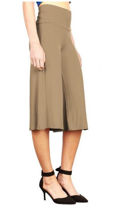 Women Wide Leg Pants High Waist Knee Length Summer Casual Loose Streetwear Trouses khaki