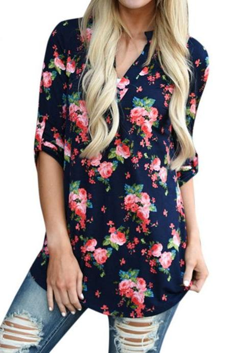 Women Floral Printed Blouse Long Sleeve V Neck Plus Size Casual Loose Tops Shirt navy blue floral