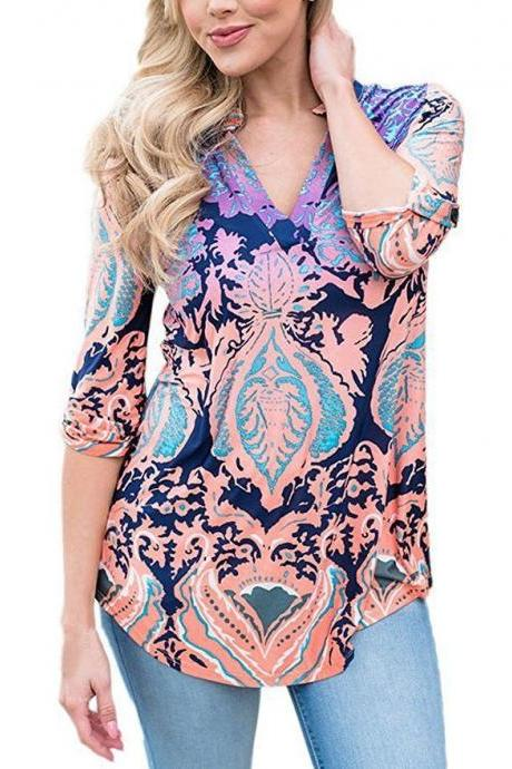 Women Floral Printed Blouse Long Sleeve V Neck Plus Size Casual Loose Tops Shirt pink