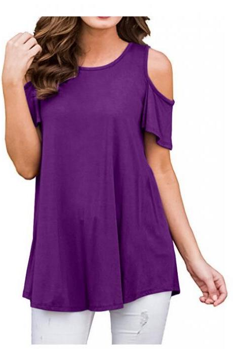 Off the Shoulder Women T-Shirt Summer Short Sleeve Loose Casual Tees Tops purple