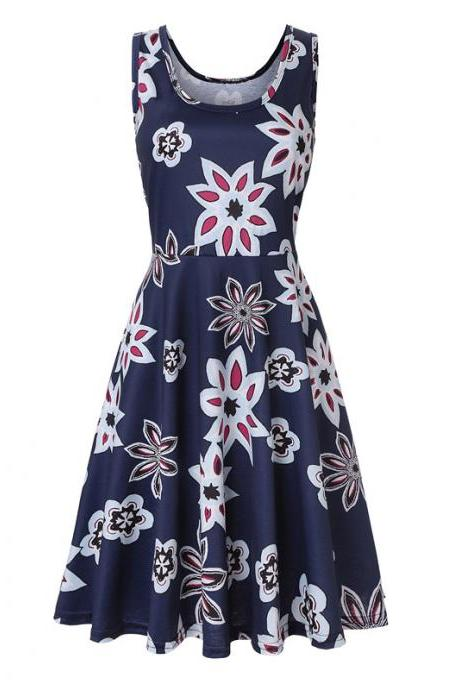 Women Floral Printed Casual Dress Sleeveless Summer Beach Boho Mini Club Party Dress4#