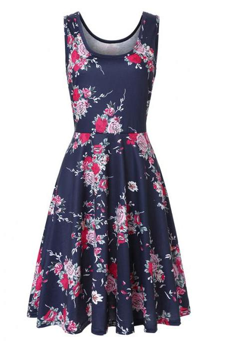 Women Floral Printed Casual Dress Sleeveless Summer Beach Boho Mini Club Party Dress5#
