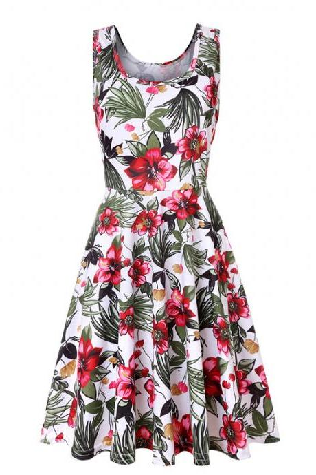 Women Floral Printed Casual Dress Sleeveless Summer Beach Boho Mini Club Party Dress12#