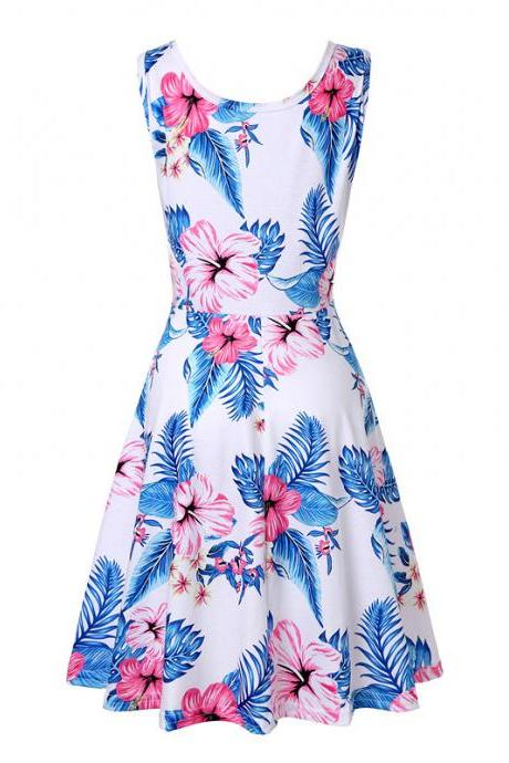 Women Floral Printed Casual Dress Sleeveless Summer Beach Boho Mini Club Party Dress13#