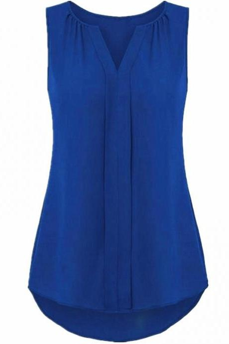 Women Chiffon Sleevless Blouse Summer V Neck Tank Tops Plus Size Loose T Shirt royal blue