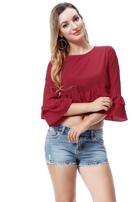 Women Crop Top 3/4 Sleeve Ruffles Summer Loose Tee Casual Streetwear T-Shirt deep wine red