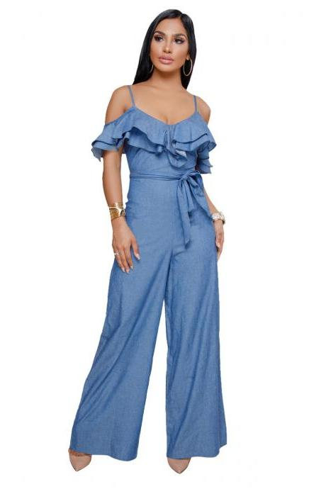 Women Denim Wide Leg Jumpsuit Ruffles Spaghetti Strap Off Shoulder Casual Loose Long Rompers blue