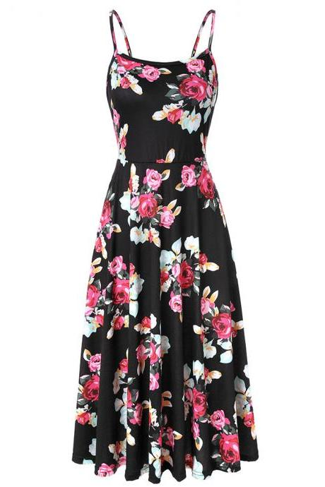Boho Floral Printed Casual Dress Spaghetti Strap Women Summer Beach Party Dress2#