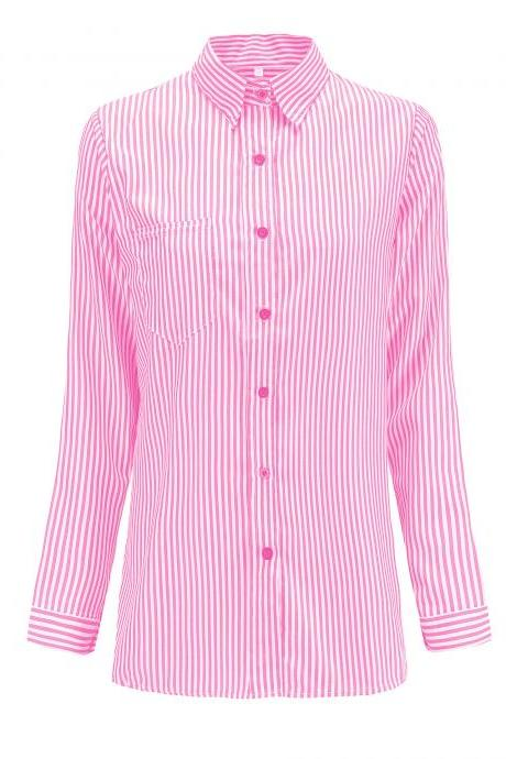 Women Striped Shirt Long Sleeve Turn-Down Collar Work Office Casual Loose Top Blouses pink