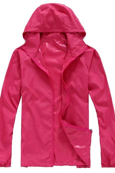 Unisex Sun Protection Clothes Outdoor UV-Proof Quick Dry Fishing Climbing Coat Women Men Hooded Jacket hot pink
