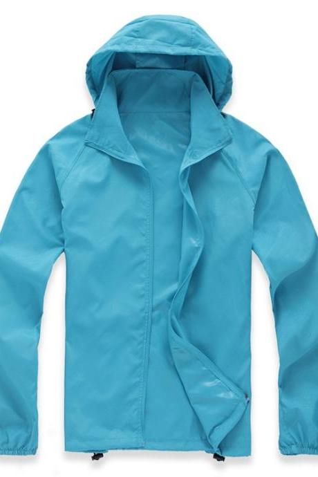 Unisex Sun Protection Clothes Outdoor UV-Proof Quick Dry Fishing Climbing Coat Women Men Hooded Jacket sky blue