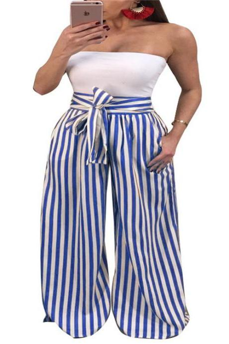 Women Striped Wide Leg Pants High Waist Casual Bow Tie Loose Long Trousers blue