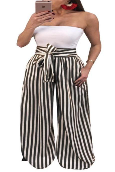 Women Striped Wide Leg Pants High Waist Casual Bow Tie Loose Long Trousers black