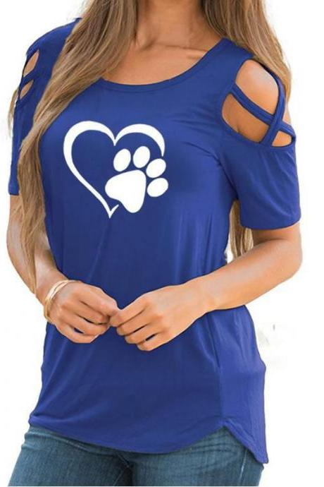 Women T-Shirt Summer Short Sleeve Casual Printed Loose Off the Shoulder Tee Tops blue heart